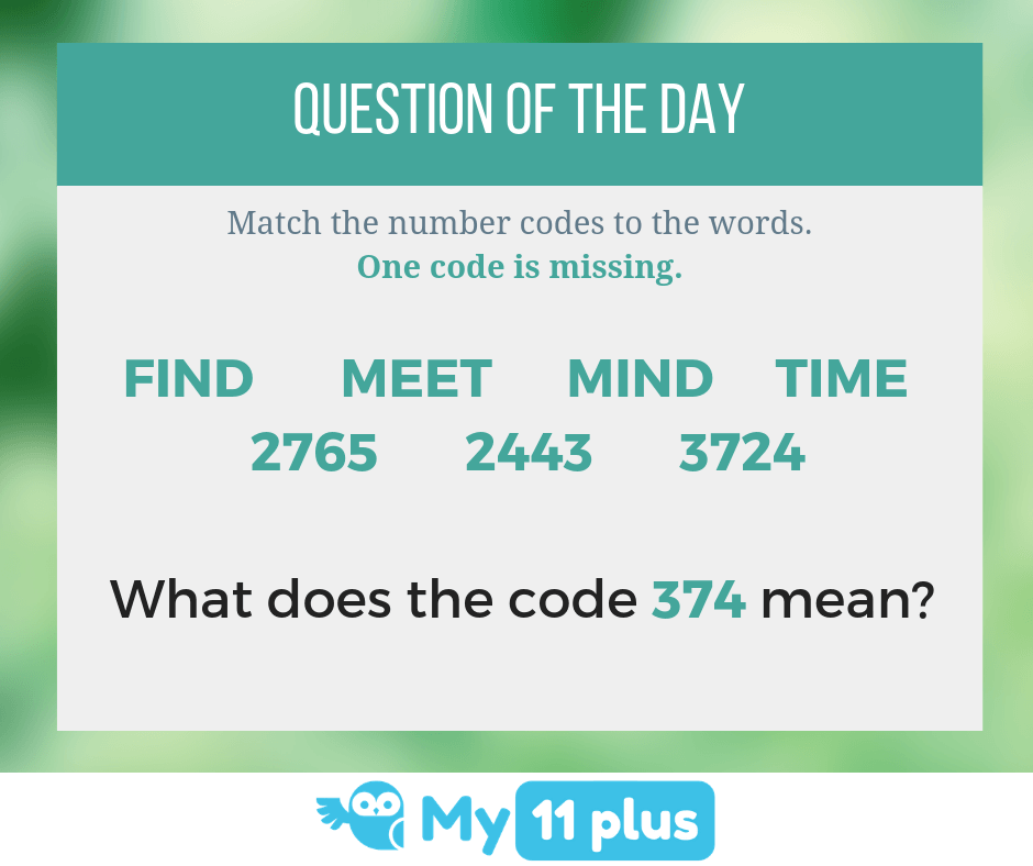 Verbal Reasoning Question For 11 Plus Exam – Match The Code